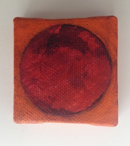 Red and orange tiny painting