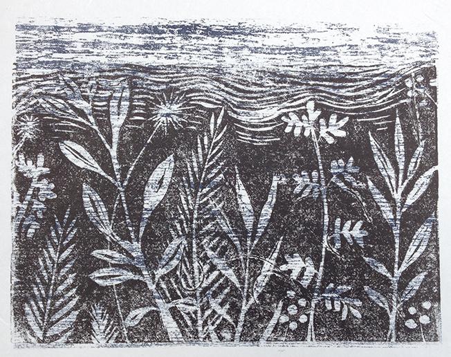 NZ Flora linocut