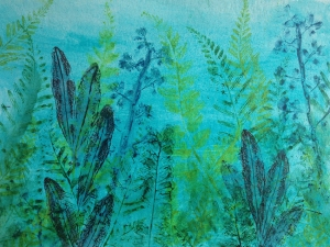 Ferns in blue postcard