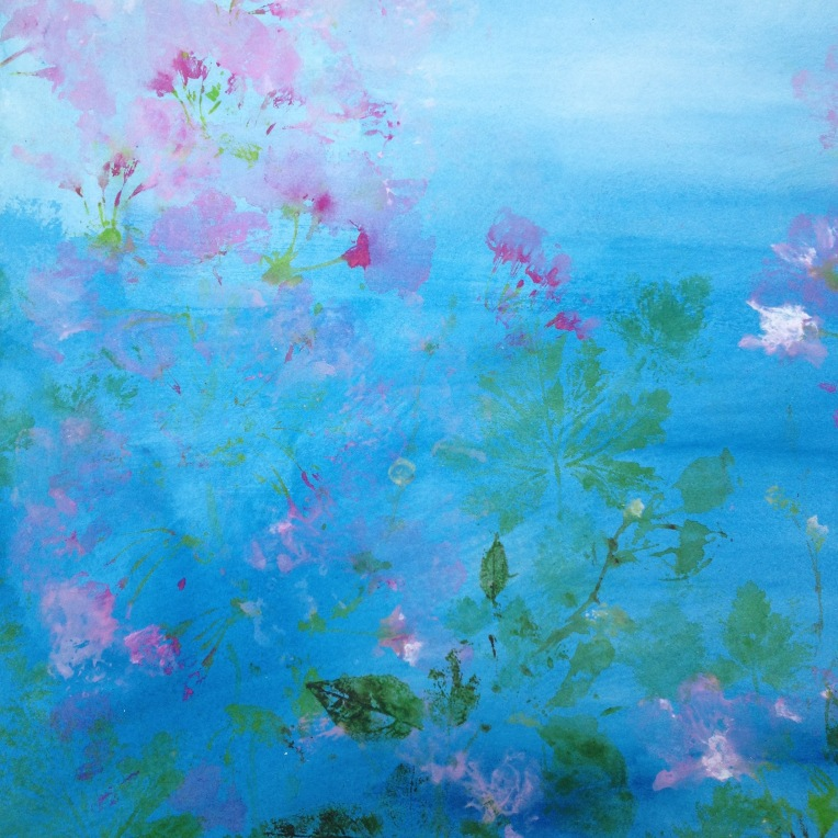 Blue blossoms painting